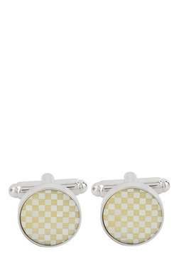 Raymond Yellow & Silver Chequered Metal Cufflinks