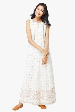Global Desi Off White Printed Maxi Dress