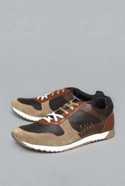 SOLEPLAY By Westside Tan Faux Leather Trainers