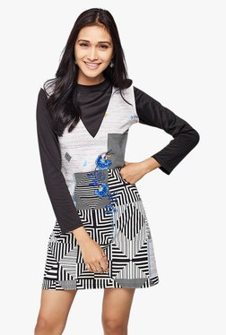 Global Desi Black & White Printed Pinafore Dress