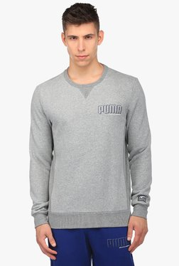 Puma Grey Round Neck Full Sleeves Sweatshirt