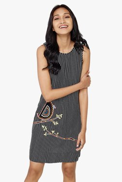 Global Desi Black Striped Shift Dress