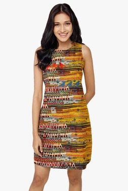 Global Desi Mustard Printed Shift Dress - Mp000000002022529