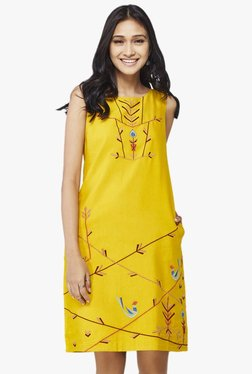 Global Desi Mustard Printed Shift Dress