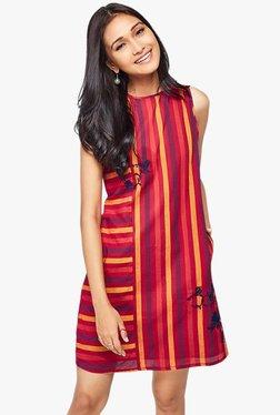 Global Desi Red Striped Shift Dress