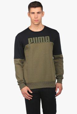Puma Olive & Black Round Neck Sweatshirt
