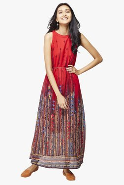Global Desi Red Printed Maxi Dress