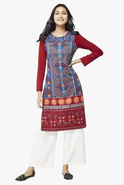 Global Desi Teal Printed Polyester Kurta - Mp000000002022776