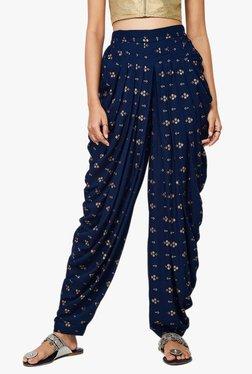 Global Desi Navy Printed Viscose Dhoti Pants