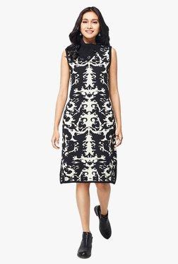 Global Desi Black Printed Knitted Dress
