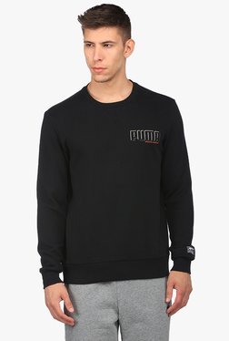 Puma Black Round Neck Full Sleeves Sweatshirt