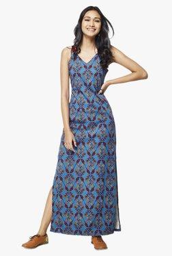 Global Desi Teal Floral Print Maxi Dress