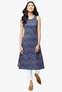 Global Desi Teal Printed Polyester Kurta