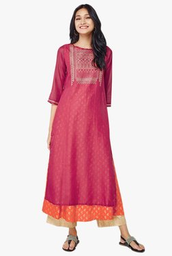 Global Desi Pink Printed Layered Kurta