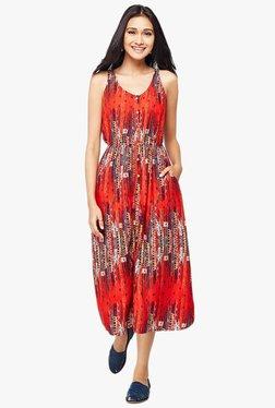 Global Desi Red Printed Dress