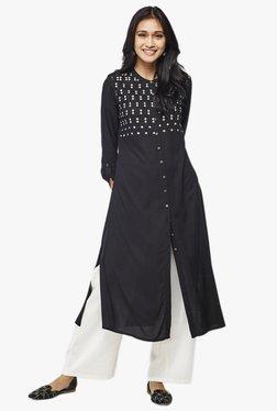 Global Desi Black Embroidered Viscose Yoke Kurta
