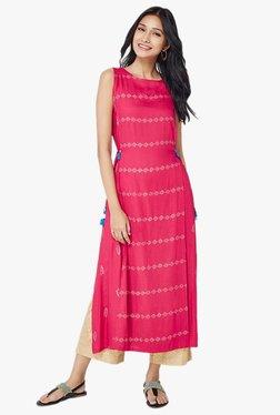 Global Desi Pink Printed Viscose Tabrad Kurta