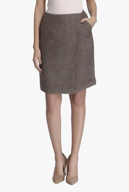 Vero Moda Brown Textured Knee Length Skirt