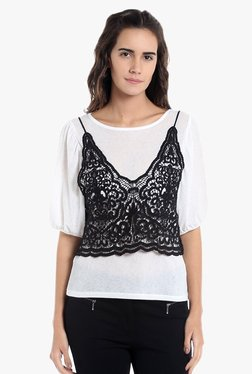 Vero Moda White & Black Lace Top