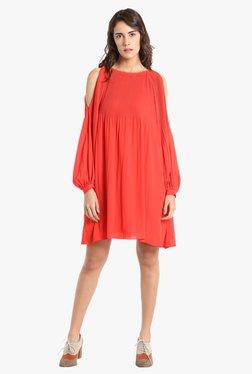 Vero Moda Coral Knee Length Cold Shoulder Dress
