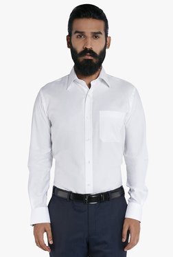Raymond White Cotton Solid Full Sleeves Shirt