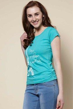Zudio Aqua Eiffel Crew Neck T-Shirt