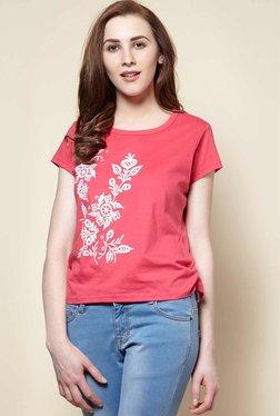Zudio Pink Floral Crew Neck T-Shirt