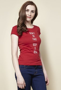 Zudio Red Real Crew Neck T-Shirt