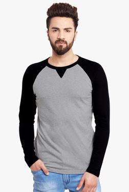 Hypernation Grey & Black Round Neck T-Shirt