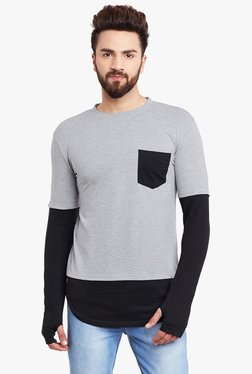 Hypernation Grey & Black Round Neck Cotton T-Shirt