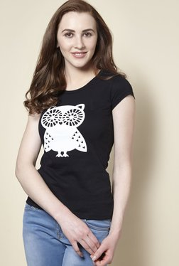 Zudio Black Owl Crew Neck T-Shirt