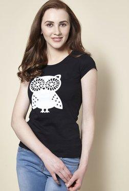 Zudio Black Owl Crew Neck T-Shirt