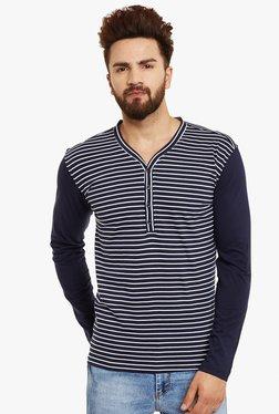 Hypernation Navy & White Full Sleeves Henley T-Shirt