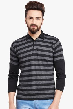 Hypernation Black & Grey Striped Regular Fit T-Shirt