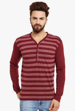 Hypernation Maroon Regular Fit Henley T-Shirt