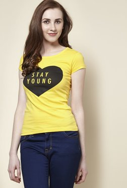 Zudio Yellow Young Crew Neck T-Shirt