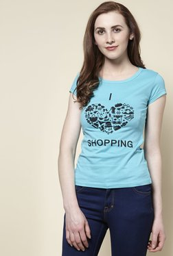 Zudio Aqua Shopping Crew Neck T-Shirt