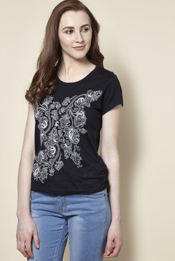 Zudio Black Floral Crew Neck T-Shirt