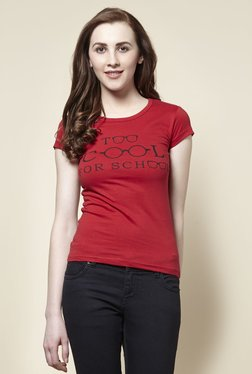 Zudio Red School Crew Neck T-Shirt