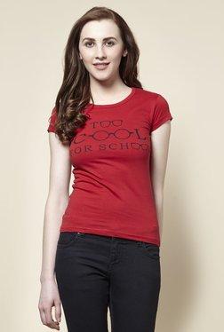 Zudio Red School Crew Neck T-Shirt