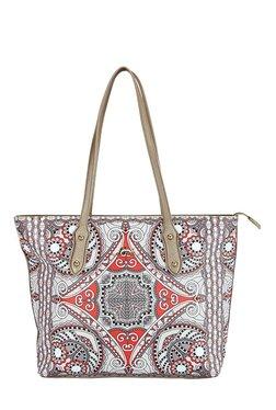 Lavie Injun Light Grey & Red Printed Shoulder Bag