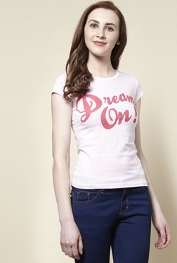 Zudio Pink Dream Crew Neck T-Shirt