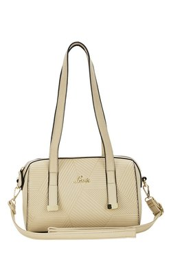 Lavie Nots Beige Textured Bowler Shoulder Bag