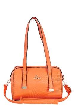 Lavie Nots Orange Textured Bowler Shoulder Bag
