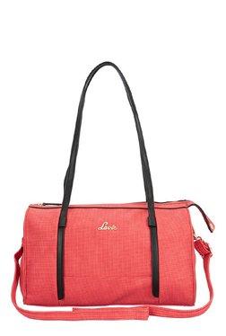 Lavie Vostok Red Textured Bowler Shoulder Bag