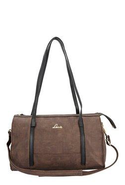 Lavie Vostok Dark Brown Textured Bowler Shoulder Bag