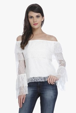 Only Off White Lace Off Shoulder Top