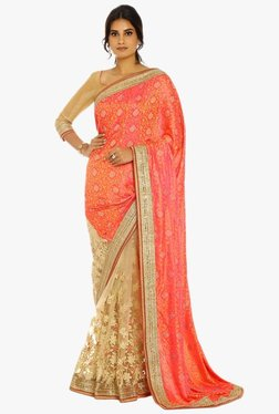 Soch Beige & Pink Half & Half Silk Net Saree With Blouse
