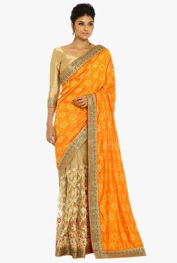 Soch Beige & Orange Half & Half Silk Net Saree With Blouse