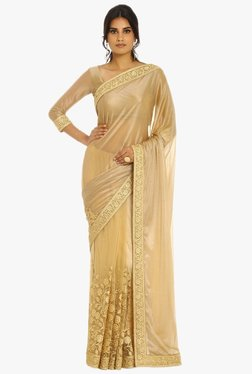 Soch Beige Embroidered Chiffon Net Saree With Blouse